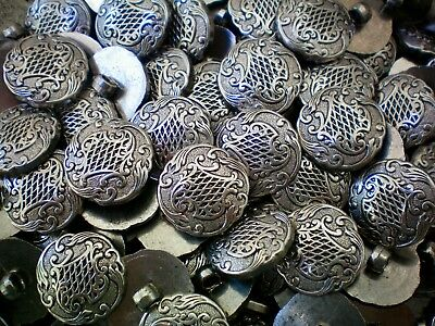 W271 20mm 32L Silver 2 Hole Filigree Pattern Coat Blazer Jacket Craft Buttons
