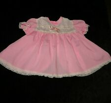 SWEET VINTAGE BABY GIRL'S DRESS PEEKABOO BACK LACE TRIM APPROX 6M EVC