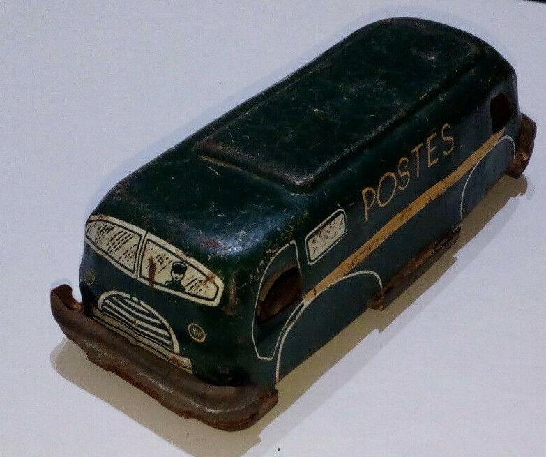 Ancien fourgon postal en tôle camion postes Charles Rossignol vintage