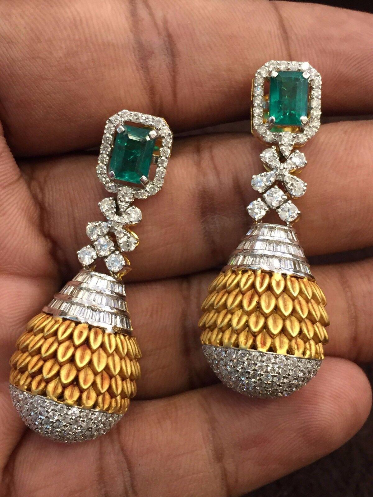Pave 6.30 Carats Round Baguette Cut Diamonds Emerald Dangle Earrings In 14K gold