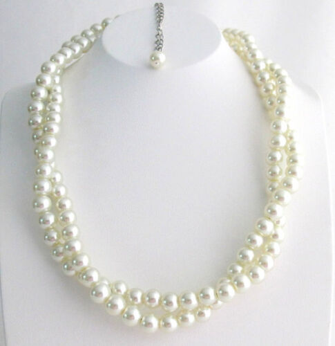 Ivory Pearl Twisted Pearl Necklace Double Strand Necklace for Bridesmaid Brides