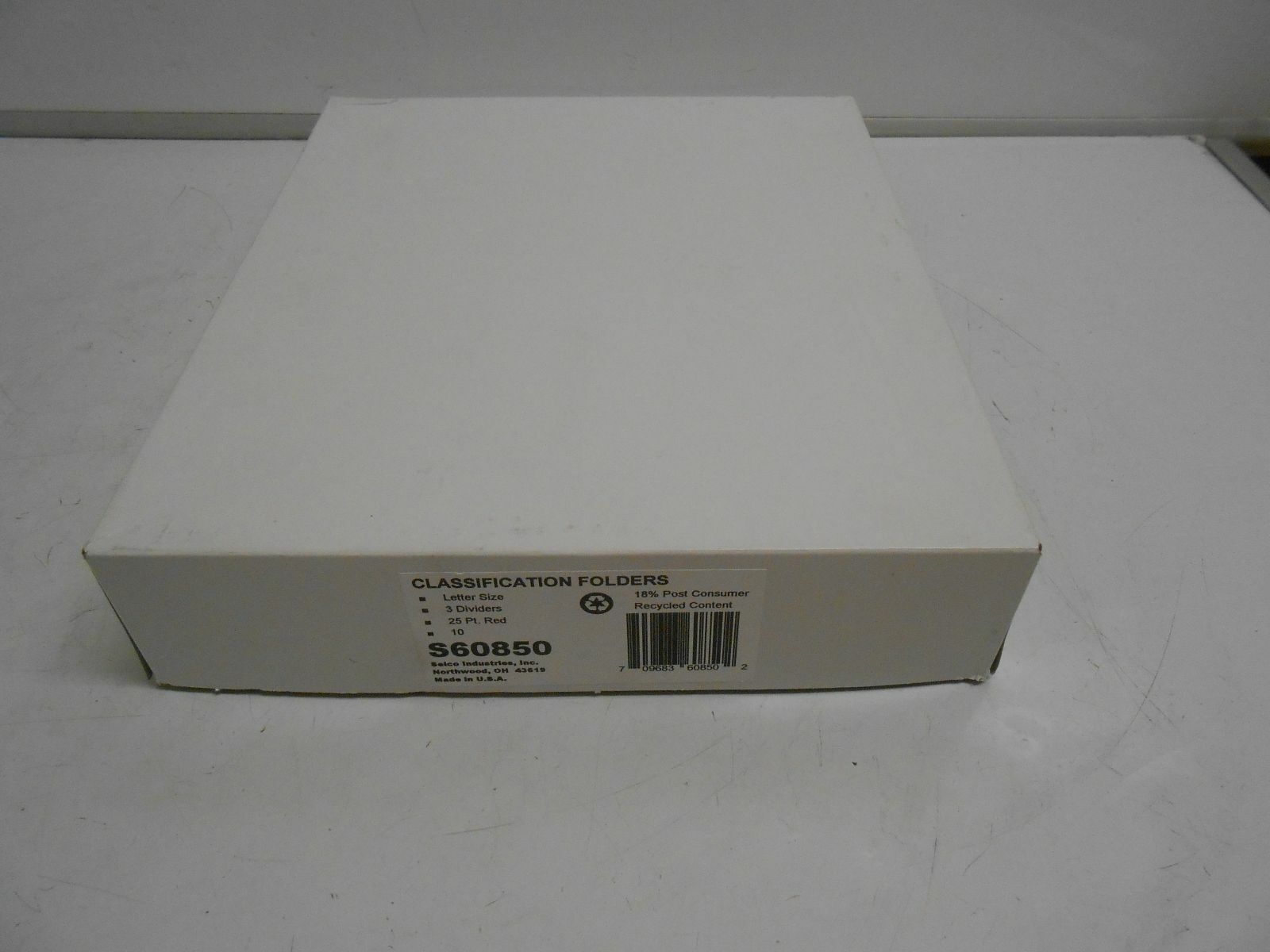 NEW BOX OF 10 SELCO INDUSTRIES S60850 CLASSIFICATION FOLDER 3 DIVIDER