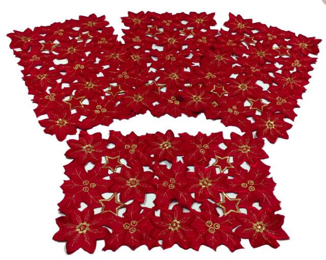 Flor de Navidad Collection Poinsettias Place Mats12x18 Set of 4