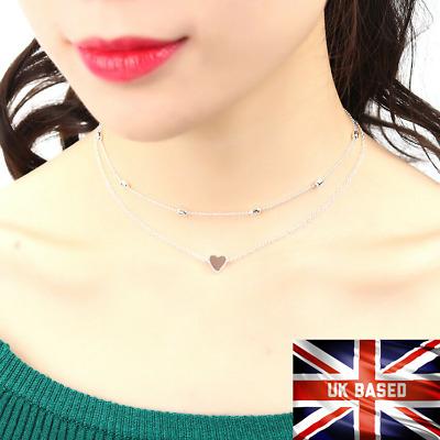 UK Necklace Multi Layer Heart Chain Choker Pendant Gold Silver UK