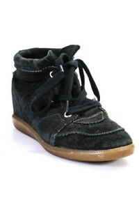 Isabel-Marant-Womens-Suede-Lace-Up-High-Top-Sneakers-Black-Size-40-10