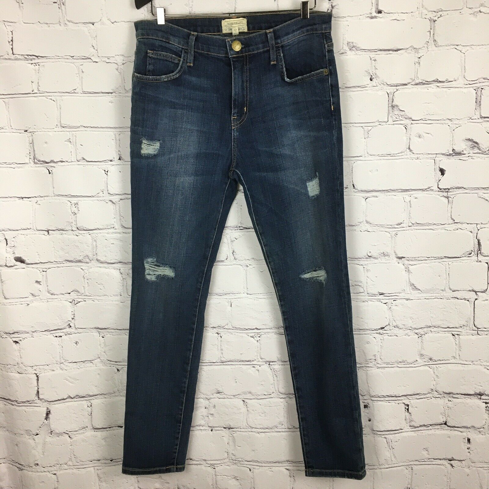 Current Elliott damen's Jeans 27 Slouchy Stiletto Tempest Destroy Skinny