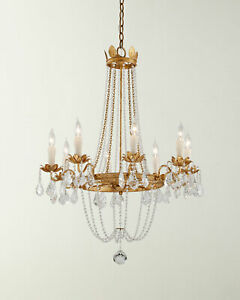 Details About Visual Comfort Style Paris Flea Chandelier Empire Crystal Gold French Farmhouse