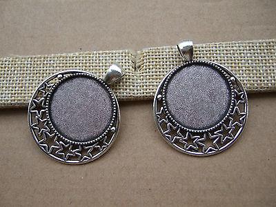 10pcs Antique Silver 25mm Tiny Pentagram Star Cabochon Settings Pendant Trays