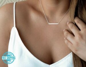 Simple-Minimalist-Dainty-Silver-Gold-16-034-18-034-Horizontal-Bar-Pendant-Necklace-USA