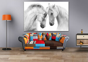 BLACK & WHITE COUPLE HORSES  SCENERY WALL ARTS high quality Canvas home decor