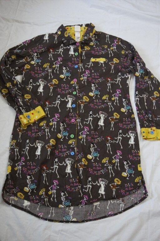 Munki Munki Women Large Nightgown Nightshirt Dia de los Muertos Day of the Dead