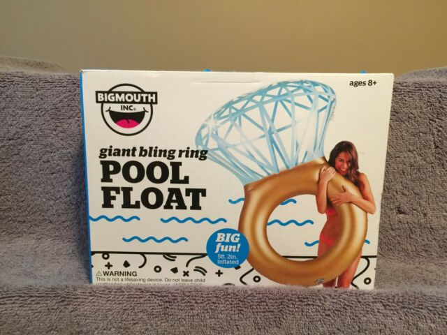 """Giant Wedding Ring Big Mouth Bling Ring Pool Float Pool Party 5/' 2/"""" Inflated"""