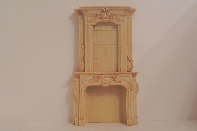 Dollhouse Fireplace Ornate Resin Tan Faux Marble Stone Look 1:12 Scale