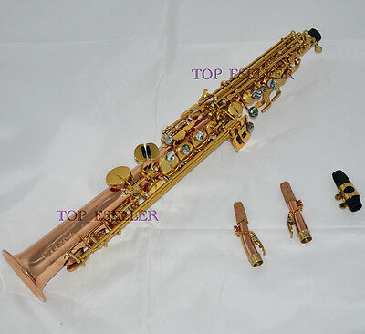 Prof phosphor Brass Straight Soprano Saxophone High F# sax Abalone Key new Case