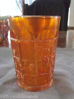 "RARE FENTON MARIGOLD CARNIVAL GLASS BLACKBERRY BLOCK 4"" TUMBLER"