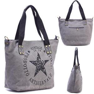 9b2bd3b324260 Das Bild wird geladen Stern-Damen-Handtasche-Schulter-Tasche-Canvas-Shopper -Vintage-