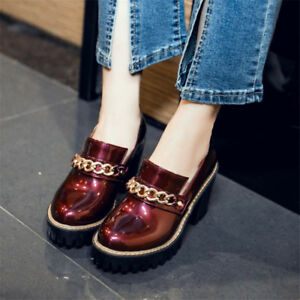 Women-039-s-Fashion-Round-Toe-Patent-Leather-Casual-Shoes-Platform-High-Heels-Size-8