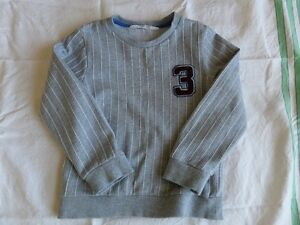 H-amp-M-Boys-Girls-Unisex-Grey-Long-Sleeve-Striped-Jumpers-Size-4-6-Years