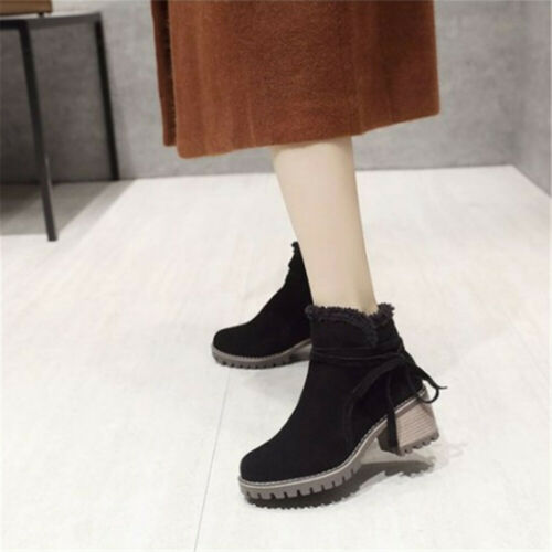 Women Lace Up Short Ankle Boots Winter Warm Martin Snow Boots Mid Heels Shoes SZ