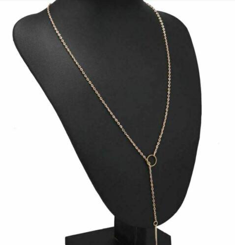 Fashion Boho Women Long Gold Chain Pendant Crystal Choker Necklace Jewelry Gift