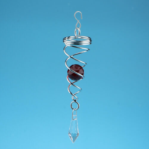 Crystal Twisters Wind Spinner Sun Catcher Hook for Home Garden Decor Red
