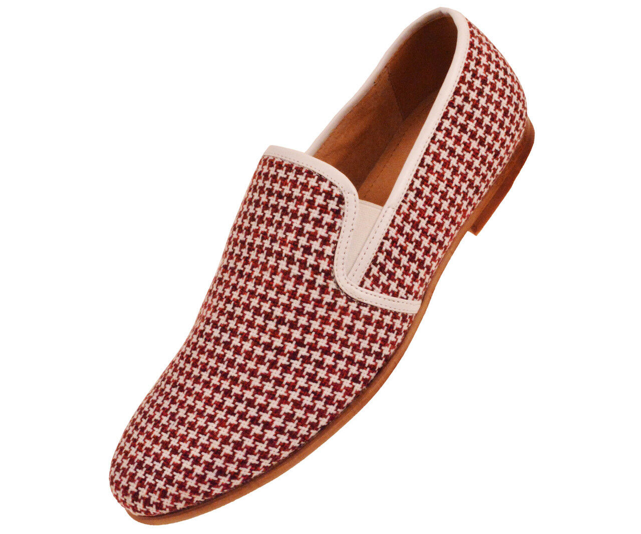 New Mens Red & White Houndstooth Knit Slip On Dress Casual Loafer Shoe SUMMER