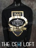 Mens Hip Hop Urban Sweatshirt In Black With Gold Foil hustle Made Me Rich