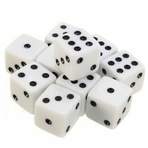 16mm-10Pcs-Opaque-Six-Sided-Spot-Dice-Games-D6-RPG-Playing-Toys-White