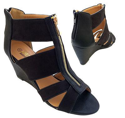 Ante para mujer Zapatos de Cuña con Plataforma Taco Alto de Bloque Peeptoe frontales con cremallera peep Damas