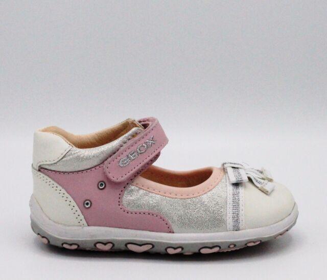 16356a1676499 Geox Chaussures Bébé fille Ballerines Blanc en Cuir rose avec ...