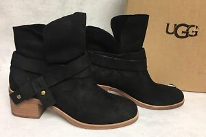 b5218742822 Details about UGG Australia Women's Elora Leather 1019148 Black Stacked  Heel Ankle Bootie