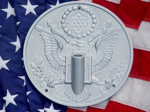 NEW SILVER Great Seal President Flagpole Wall Mount Bracket Holder