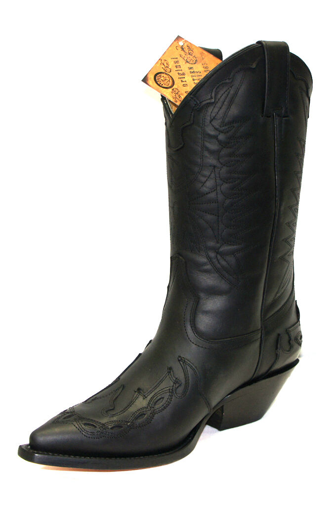 Grinders Arizona Black Unisex Leather Leather Leather Boot Cowboy Western Slip On Pointed Boots d139ce