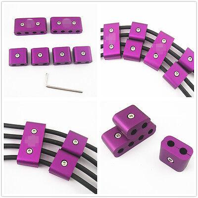 6 Pcs Purple Aluminum Engine Spark Plug Wire Separators With Key Wrench Tool Kit
