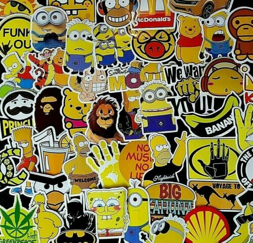 Yellow Stickers Theme 420 Minions Simpsons Mix Skate PC Skate Decal Party Gift