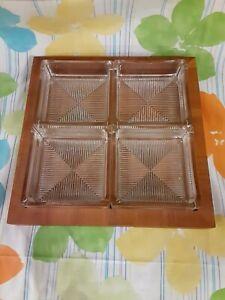 HTF Rare!! Vintage Dansk Designs Teak Wood Serving Tray w/ 4 Glass Square bowls
