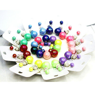 Multi Style New Celebrity Runway Double Pearl Beads Plug Earrings Ear Studs Pin