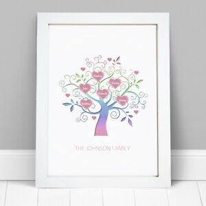 Personalised-Family-Tree-Wall-Art-Picture-Print-Mothers-Day-Birthday-Gift-Frame