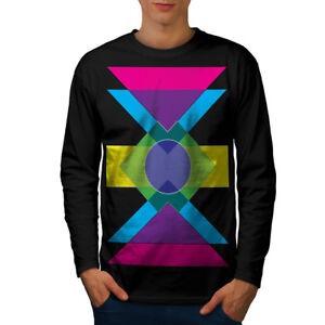 aed10c7ff63d Image is loading Wellcoda-Geometric-Pattern-Mens-Long-Sleeve-T-shirt-