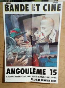 Affiche-Bande-et-Cine-Angouleme-15-Bilal-Salon-BD-janvier-1988-TINTIN-37-x-52-cm