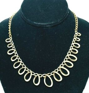 Signed Emmons Faux Pearl Gold Tone Multi Chain Necklace Vintage