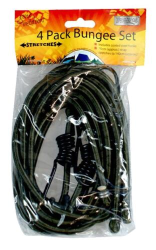 Boyz Toys RY96 Bungee Strap Set 4 Pack 75cm Hooked Ends Green Black Car Travel