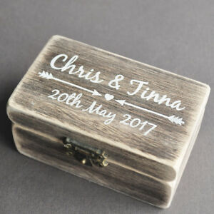 Image Is Loading Rustic Wedding Ring Box Personalized Bearer