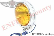 UNIVERSAL CHOPPER BOBBER HEADLIGHT HEADLAMP 124mm DIA CHROME YELLOW LENS @CAD