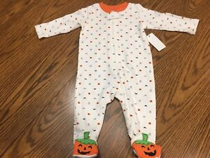 image is loading infant baby halloween pumpkin ghost full zip sleeper