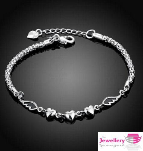 925 Sterling Silver Triple Heart Bracelet Jewellery Womens Las Gift Ebay