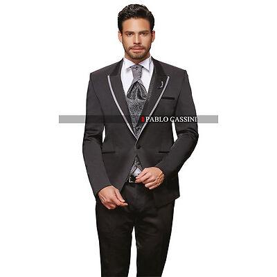 PABLO CASSINI Designer Herren Anzug Schwarz Grau Hochzeitsanzug Bräutigam PC_21