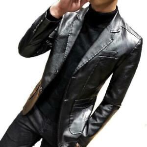 Details about Mens Blazer Leather Jacket Lapel Formal Dress Slim Fit Cool  Motor Coat 2019 New