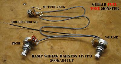 TONE MONSTER Basic Wiring Harness 500K Volume Tone Output Jack Cigar Box  Guitar   eBay   Bass Guitar Output Jack Wiring      eBay