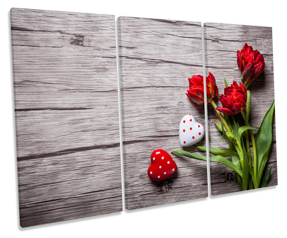 Flowers Heart Floral rot Picture TREBLE CANVAS WALL ART Print